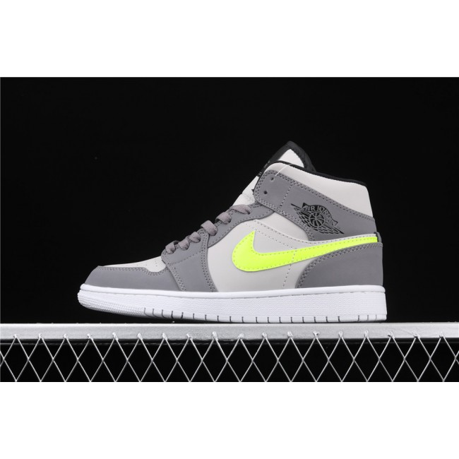 Men & Women Air Jordan 1 Mid In Grey Fluorescent Green Logo