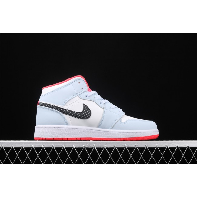 Men & Women Air Jordan 1 Mid In Ice Blue Black Logo