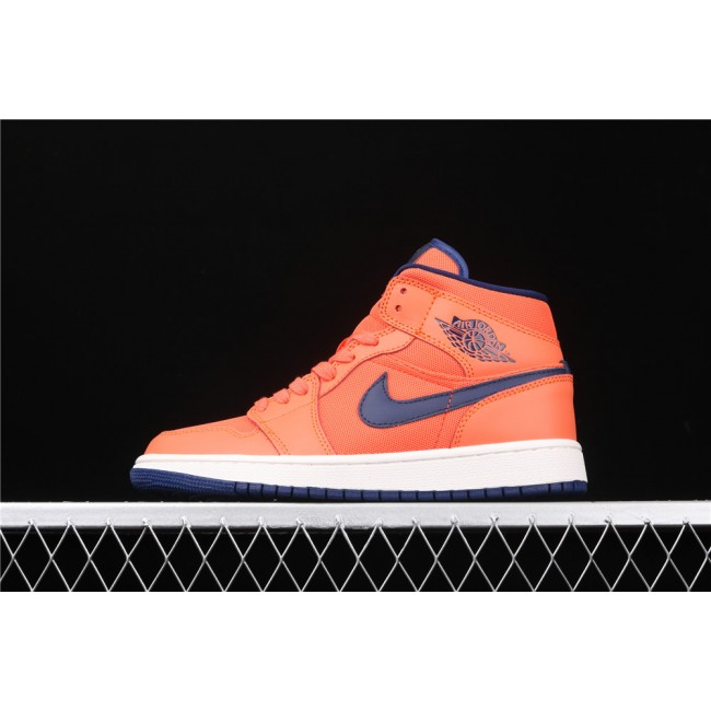 Men & Women Air Jordan 1 Mid In Orange Blue Logo