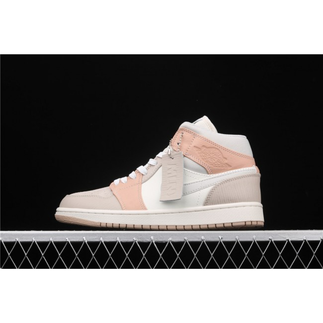 Men & Women Air Jordan 1 Mid In Pink Gray Logo