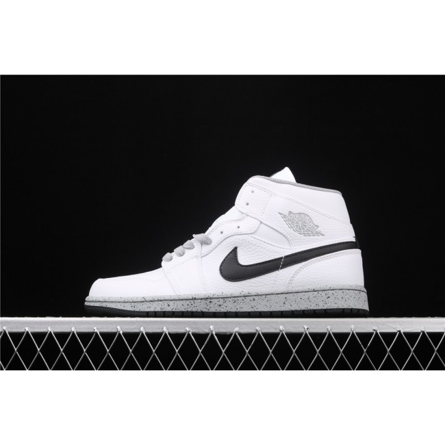 Men & Women Air Jordan 1 Mid In White Black Logo