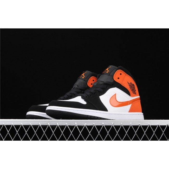 Men & Women Air Jordan 1 Mid In White Black Orange Logo