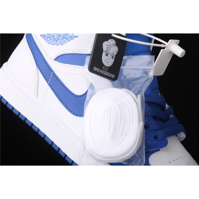 Men & Women Air Jordan 1 Mid In White Blue Logo