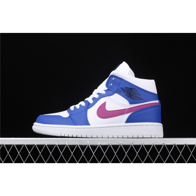 Men & Women Air Jordan 1 Mid In White Blue Purple Logo