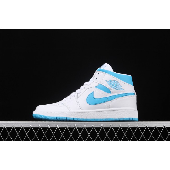 Men & Women Air Jordan 1 Mid In White Carolina Blue