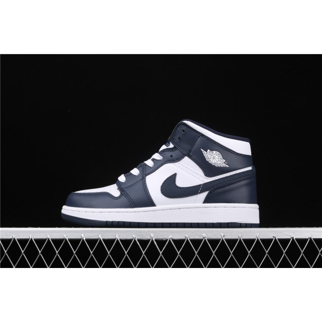 Men & Women Air Jordan 1 Mid In White Dark Blue Logo