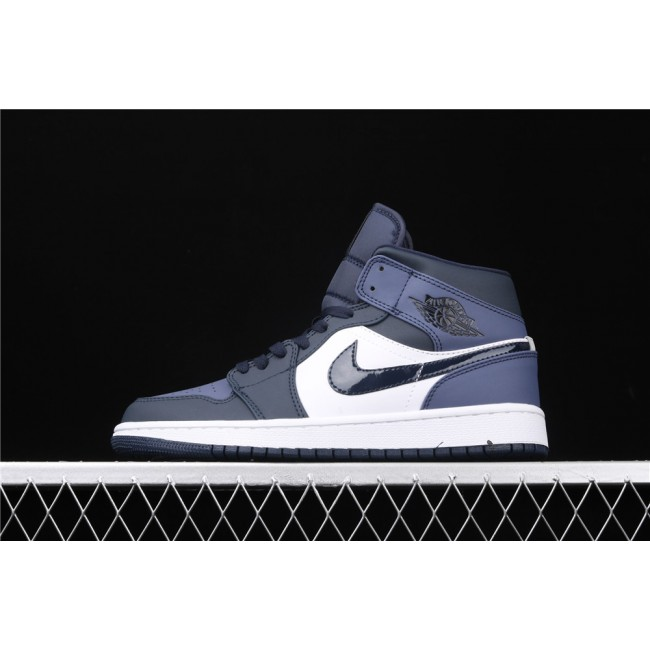 Men & Women Air Jordan 1 Mid In White Light Blue Logo
