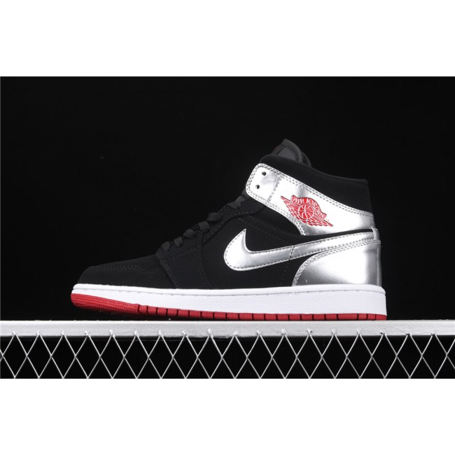 Men & Women Air Jordan 1 Mid Johnny Kilroy In Black Silver Logo