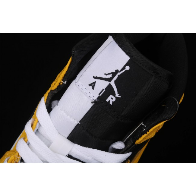 Men & Women Air Jordan 1 Mid OG In Black Yellow Logo