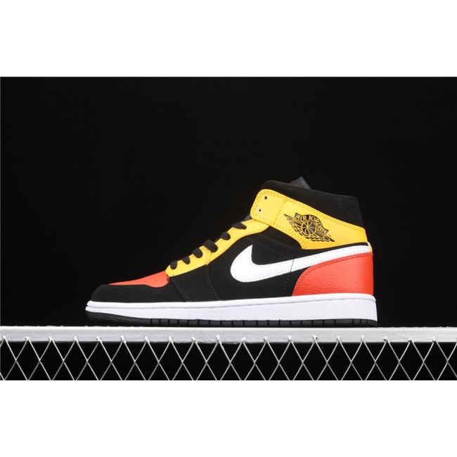 Men & Women Air Jordan 1 Mid SE In Black Yellow White Logo