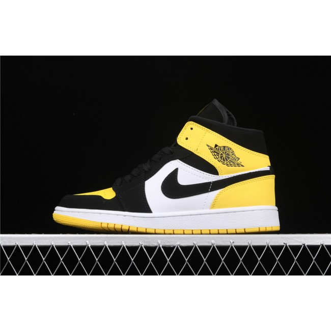 Men & Women Air Jordan 1 Mid SE Yellow Toe In Black White