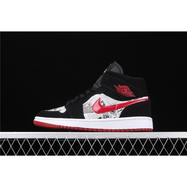 Men & Women Air Jordan 1 Mid SJD In Black Red Logo