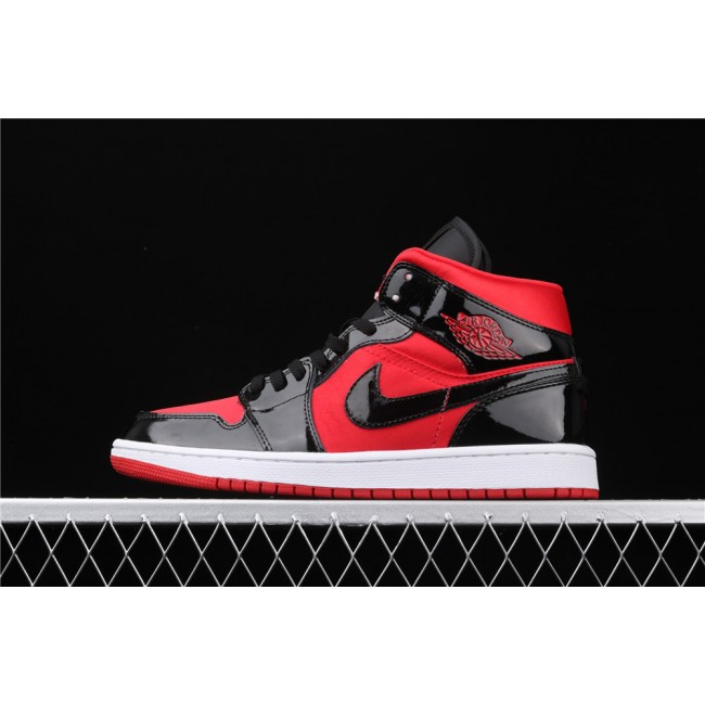 Men & Women Air Jordan 1 Mid WMNS In Red Light Black Logo
