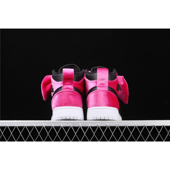 Men & Women CLOT x Air Jordan 1 Mid Fearless In Black Rose Red Bowknot