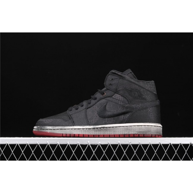 Men & Women CLOT x Air Jordan 1 Mid Fearless In Dirty Black