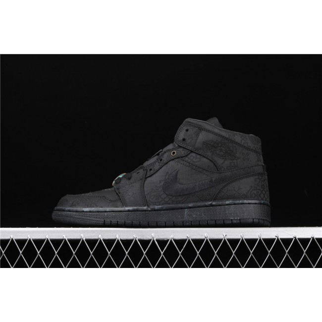 Men & Women CLOT x Air Jordan 1 Mid Fearless In Full Black