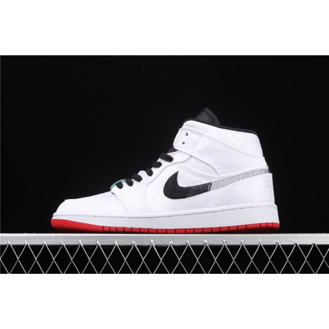 Men & Women CLOT x Air Jordan 1 Mid Fearless Silk In White Black Logo