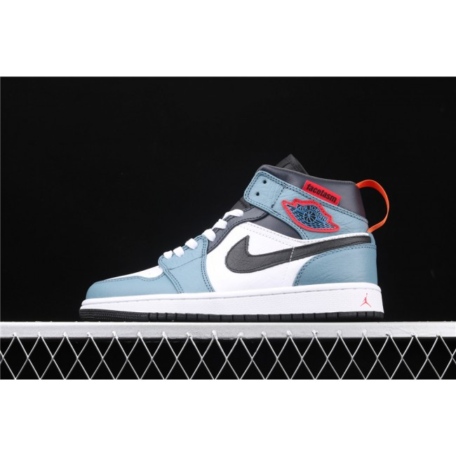 Men & Women FaceTasm x Air Jordan 1 Mid In Light Blue White