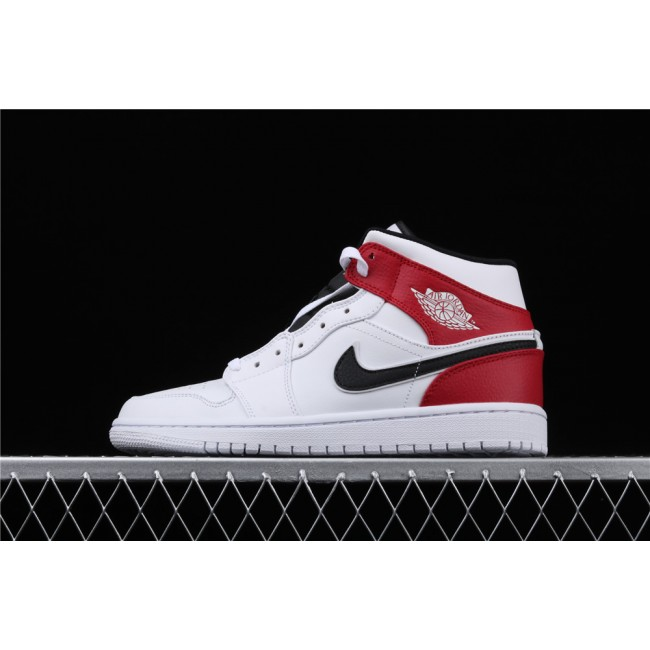 Men Air Jordan 1 Mid Chicago In White Red Black