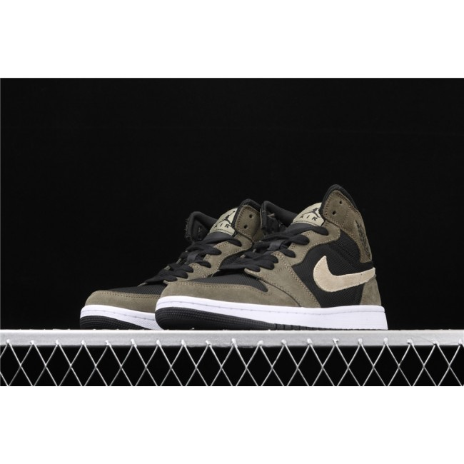 Men Air Jordan 1 Mid In Army Black White