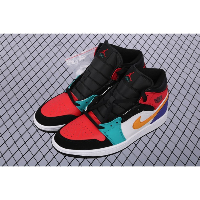 Men Air Jordan 1 Mid In Black Red Yellow Logo