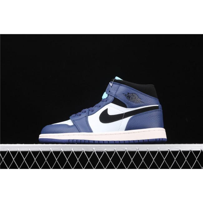 Men Air Jordan 1 Mid In Blue White Black