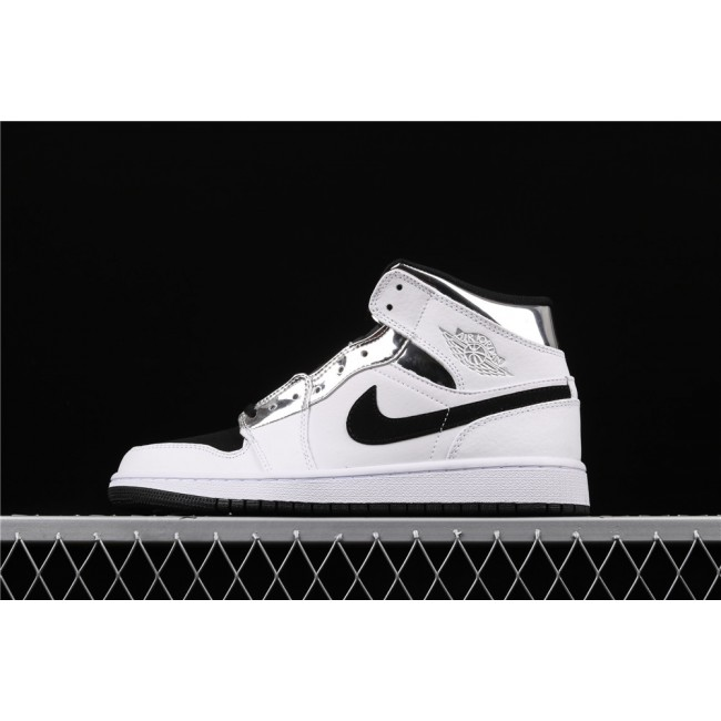 Men Air Jordan 1 Mid In White Silver Black