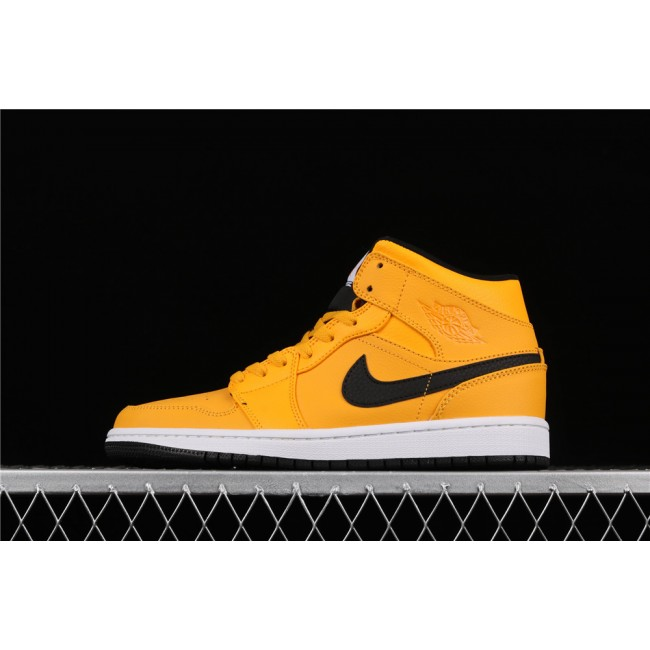 Men Air Jordan 1 Mid In Yellow Black Logo