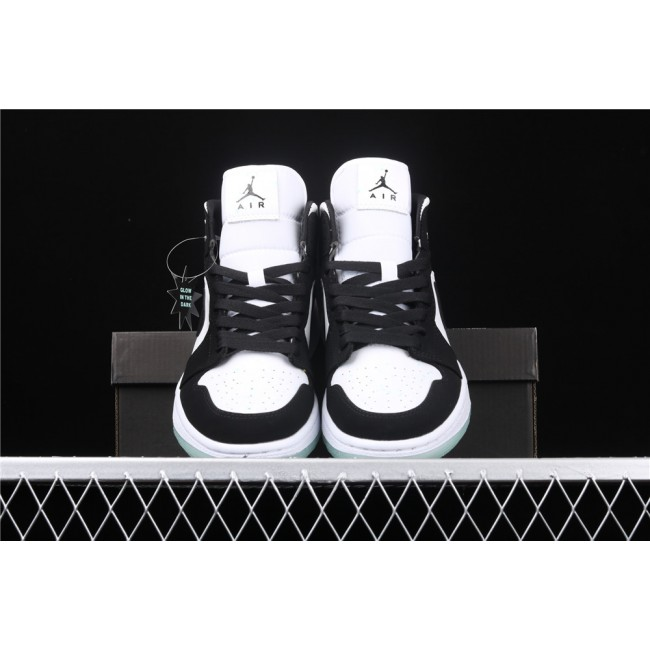 Men Air Jordan 1 Mid Luminous In White Black