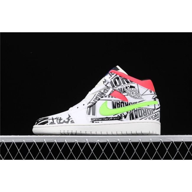 Men Air Jordan 1 Mid SE Culture In White Black