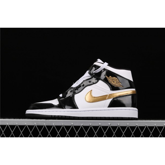 Men Air Jordan 1 Mid SE In Light Black Golden Logo