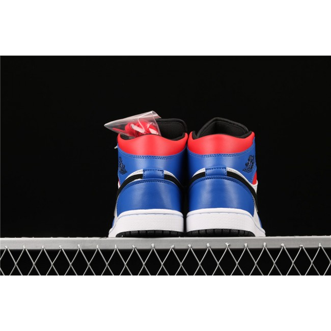 Men Air Jordan 1 Mid Top3 In Blue White Black Logo