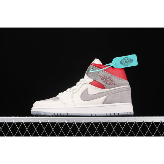 Men & Women SNS x Air Jordan 1 Mid Prm In Cream Gray Logo