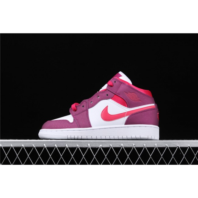 Women Air Jordan 1 Mid GS In Purple White Red Logo