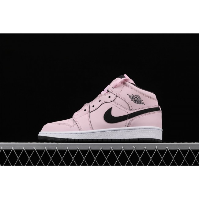 Women Air Jordan 1 Mid GS In Sakura Pink Black Logo