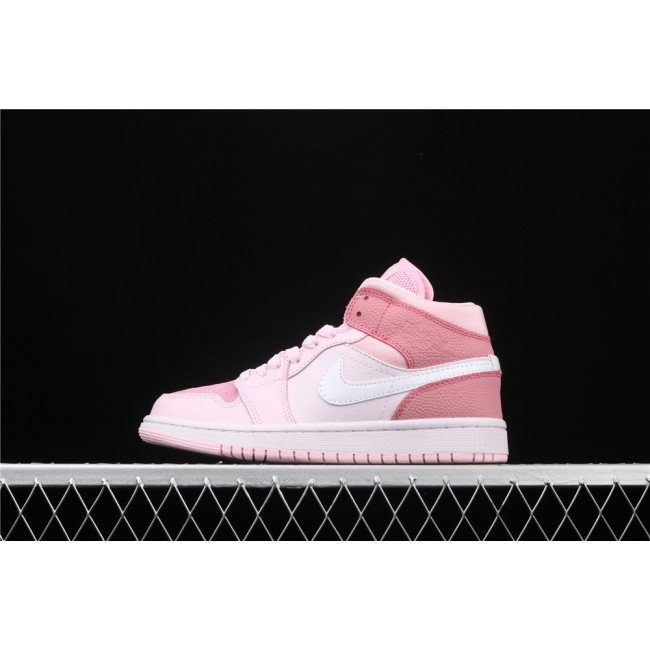 Women Air Jordan 1 Mid In Bubble Pink White Logo