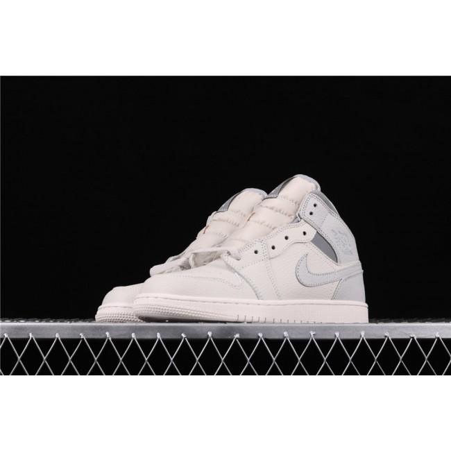 Women Air Jordan 1 Mid In Cream Gray Logo