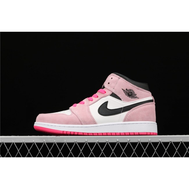 Women Air Jordan 1 Mid In Pink White Black