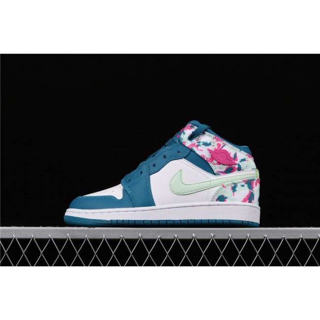 Women Air Jordan 1 Mid In White Blue Ink