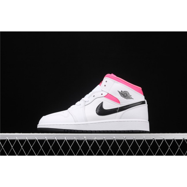 Women Air Jordan 1 Mid In White Pink Black Logo
