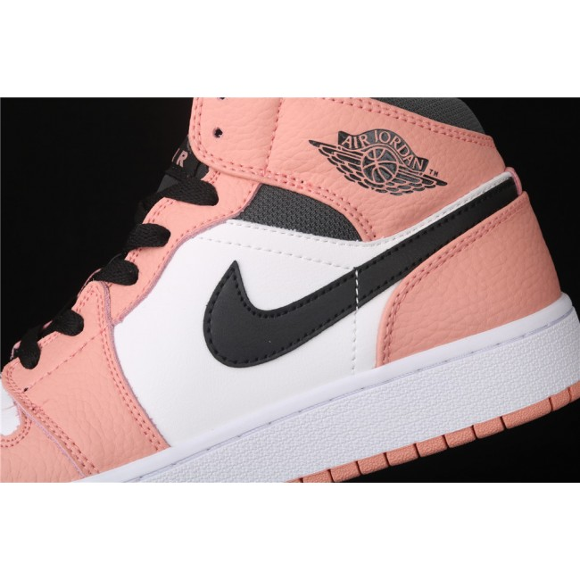 Women Air Jordan 1 Mid Pink Quartz In Black Logo