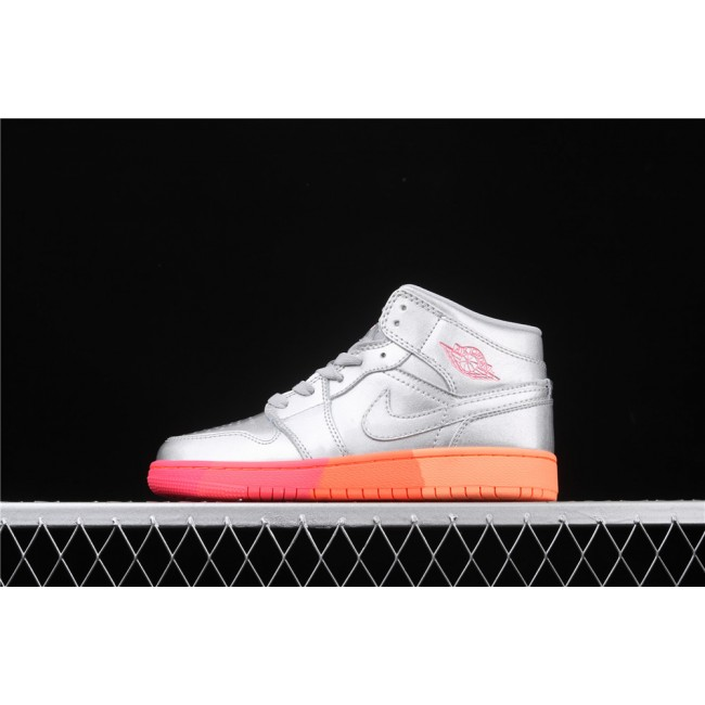Women Air Jordan 1 Mid SE In Silver Logo