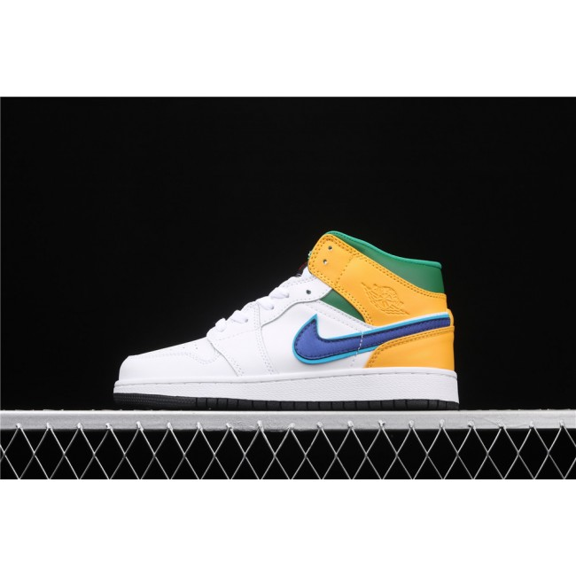 Women Air Jordan 1 Mid SE In White Green Yellow Blue Logo
