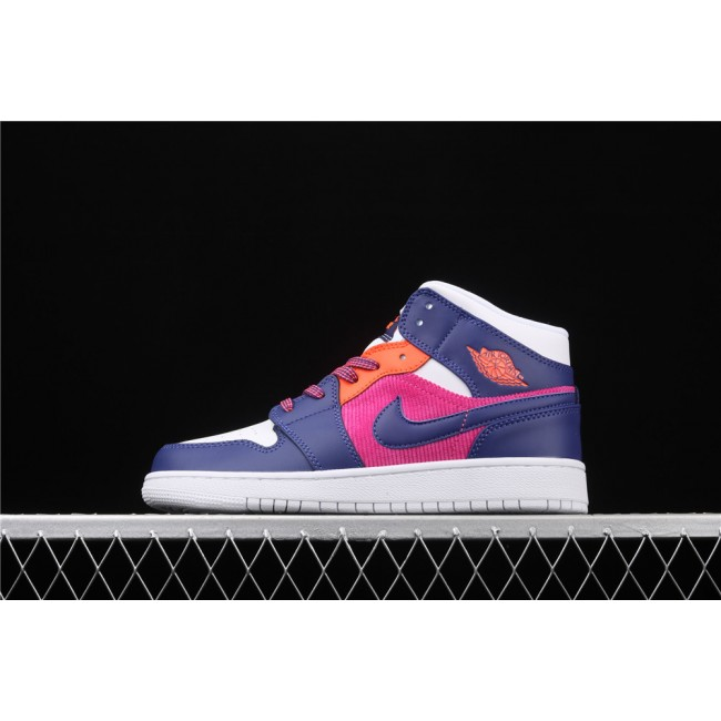 Women Air Jordan 1 Mid SE In White Purple Blue Logo