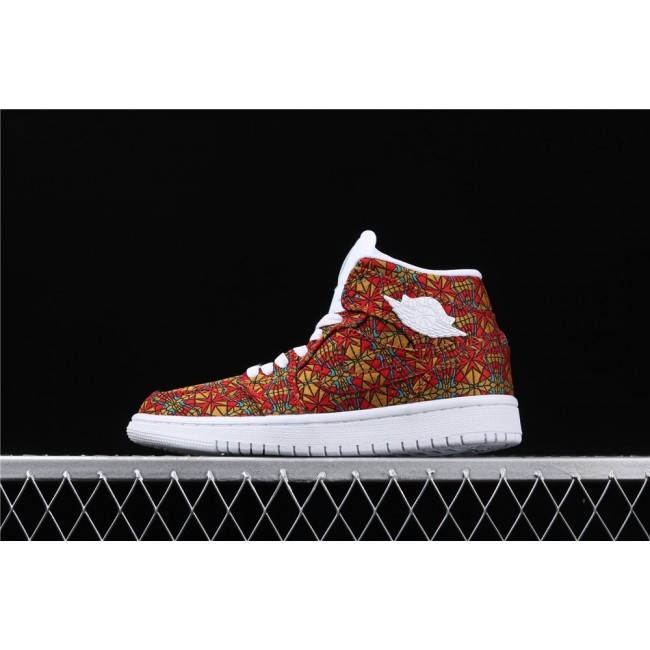 Women Air Jordan Mid Geometric In Red Golden