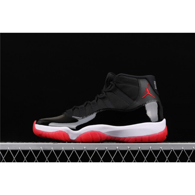 Men & Women Air Jordan 11 Bred In Black White Red
