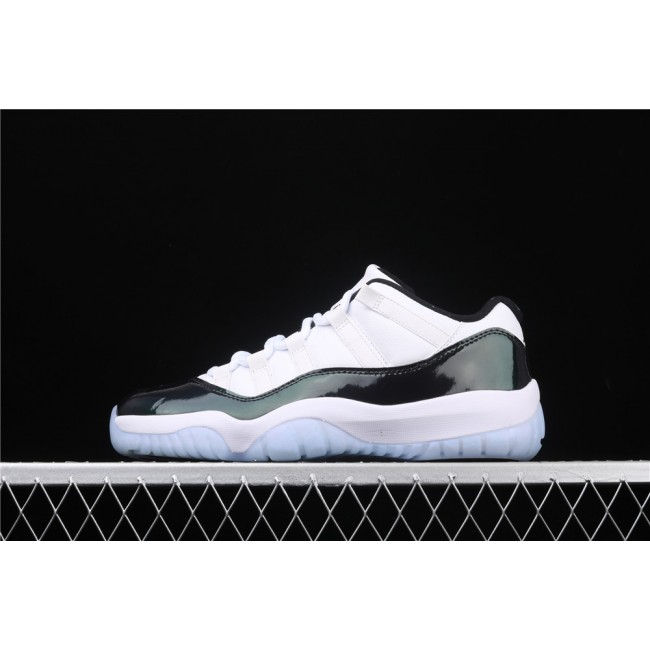 Men Air Jordan 11 Low Emerald Metal Dark Green