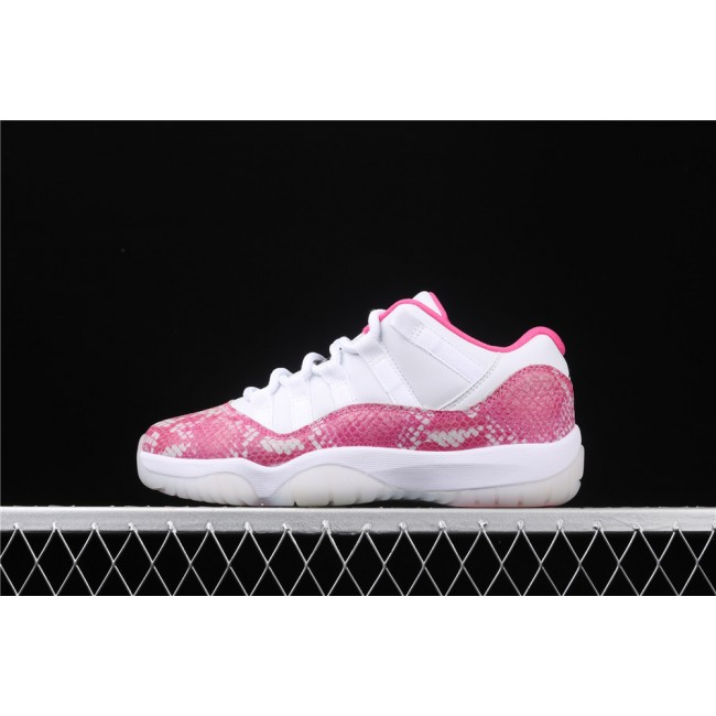 Women Air Jordan 11 Low Retro Snakeskin In Rose Red