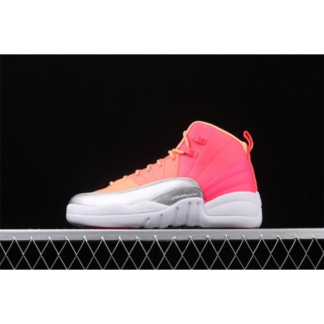 Women Air Jordan 12 Retro Orange Rose Red White