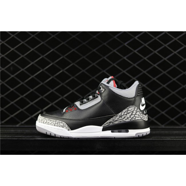 Men & Women Air Jordan 3 Low Black Cement In Gray